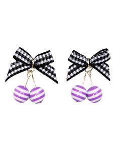 Guns N Posies Gingham Bow Striped Cherries Earrings