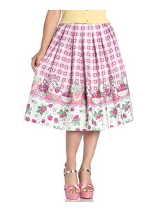 Hell Bunny Strawberry Shortcake Heart 50s Style Skirt