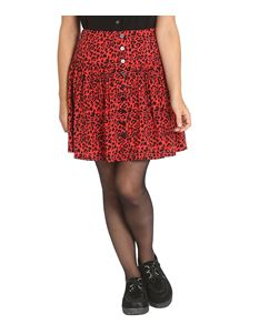 Hell Bunny Leo Red Leopard Print Short Mini Skirt