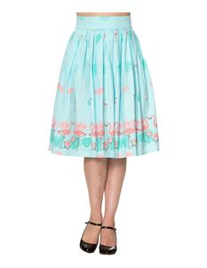 Going My Way Dancing Days Blue Pink Flamingo 50s Skirt