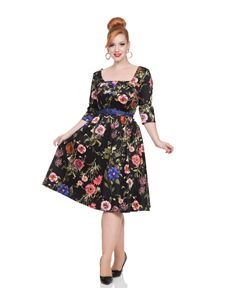 Voodoo Vixen 50s Style Allie Black Floral Flared Dress