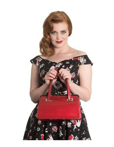 Hell Bunny Red Pearlescent Tippi Kiss Lock Bag