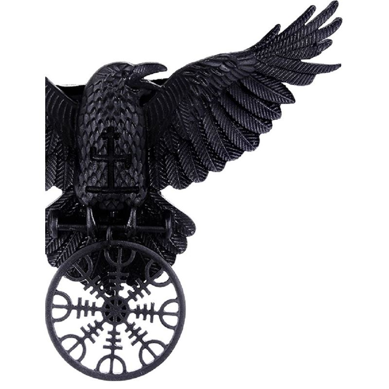 Restyle Helm Of Awe Raven Black Pendant Necklace