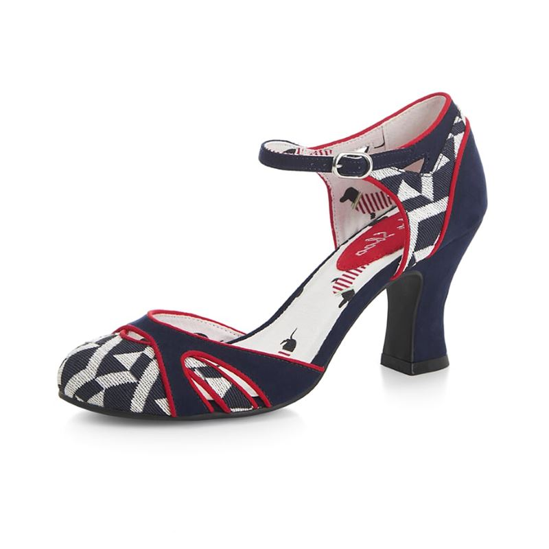 Ruby Shoo Jeraldine Mary Janes Red Navy Heels Shoes