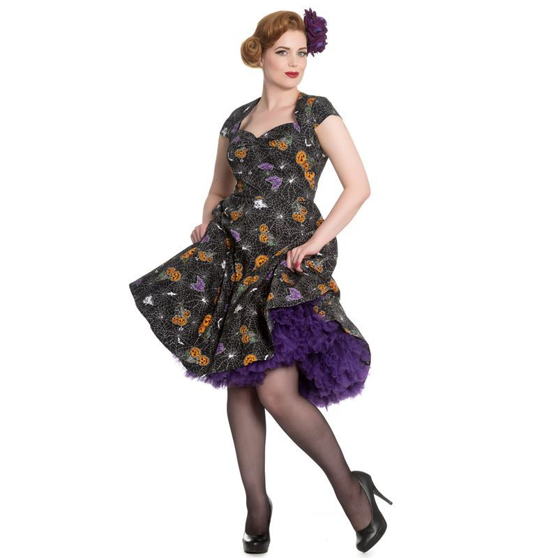 Hell Bunny Harlow 50s Style Pumpkin Spider Halloween Dress