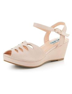 Collectif 1940s 50s Style Lily Beige Wedge Sandals