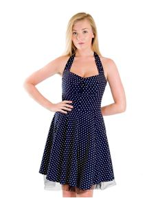 Bettie Vintage 50s Rockabilly Blue Polka Dot Mini Dress