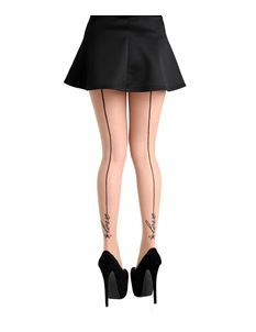 Pamela Mann Black Seamed Love Nude Tights