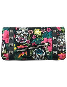 Banned Hibiscus Sugar Skull Wallet Alternative Purse