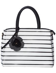 Banned Calypso Striped 50s Handbag Tote White Bag