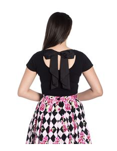 Hell Bunny Celine Short Sleeved Back Bow Black Top