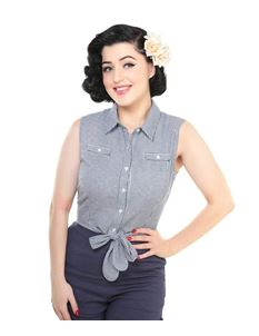 Collectif 50s Camille Navy White Gingham Tie Blouse