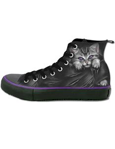 Spiral Direct Bright Eyes Cat High Top Laceup Sneakers