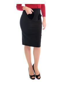 Collectif Violetta Velvet Heart Black 50s Vintage Style Pencil Skirt
