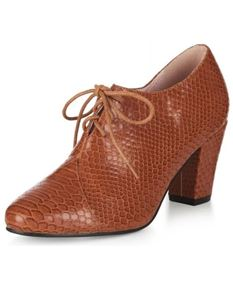 Collectif Amelia Brown Snakeskin Lace Up Shoes
