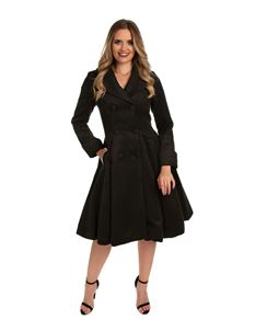 Hearts and Roses Eleanor 50s Style Black Swing Coat