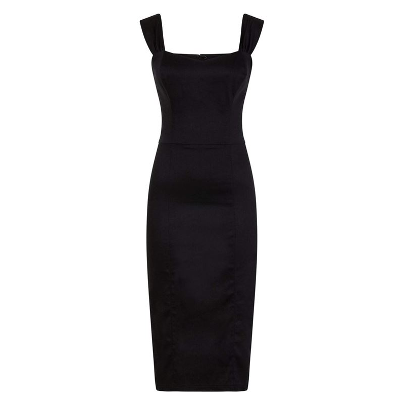 7af09c47a7cdd1 Collectif 50s Sweetheart Style Jill Black Pencil Dress