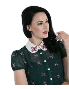Hell Bunny Beth Blouse Xmas Candy Christmas Shirt Top