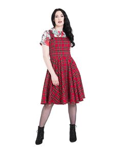 Hell Bunny Irvine Vintage Red Tartan Pinafore Dress