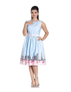 Hell Bunny Paname Polka Dot Paris Dress With Belt
