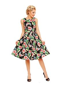 Dolly & Dotty Annie Black Floral Hibiscus Swing Dress