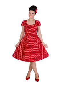 Dolly & Dotty Claudia Red Polka Dot Dress Size UK 20