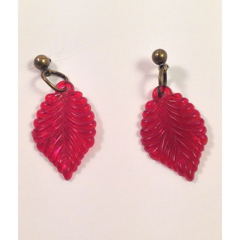 Voodoo Betty Vintage Style Red Leaf Earrings