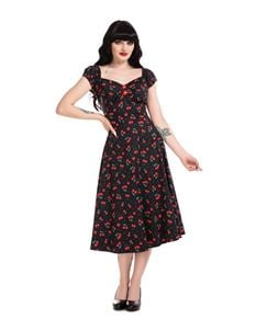 Collectif 50s Dolores Cherry Love Black Doll Dress