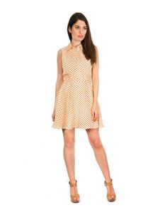 Bettie Vintage White Orange Polka Dot Mini Dress