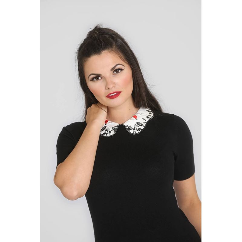 Hell Bunny Red Balloon Collar Stretch Black Top