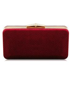 Impulse Suede Velvet Clutch Bag In Wine