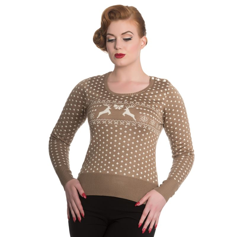 Hell Bunny Belle Taupe Knitted Christmas Jumper