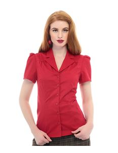 Collectif 40s Style Red Kathleen Office Shirt
