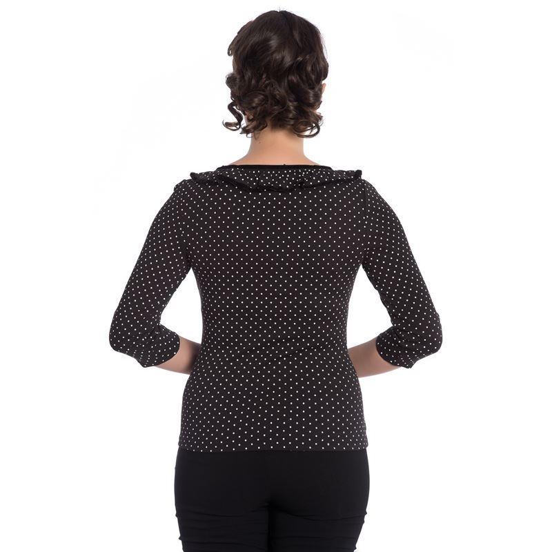 Hell Bunny Eva Polka Dot Spotted Jersey Top