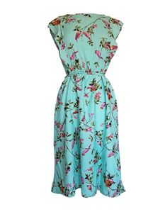 Bird Print Summer Aqua Green Blue Dress