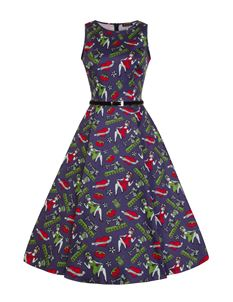 Lady Vintage Stitched Up Tattoo 50s Style Indigo Dress
