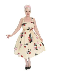 Hearts & Roses 1950's Yellow Rose Print Swing Dress
