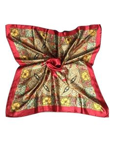 Large Faux Silk Scarf Deep Red & Gold Pattern