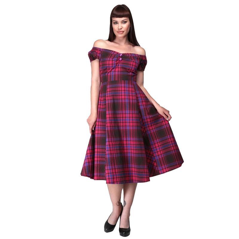 Collectif Dolores Punk Check Doll Vintage Style Dress