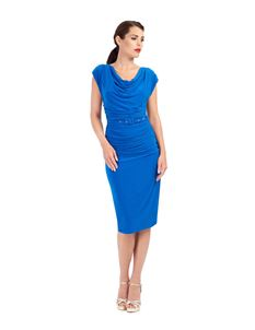 Zoe Vine Blue Ruched Billie Pencil Dress
