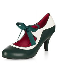 Collectif Lulu Hun Jeanie Lace Up Green Heels Shoes
