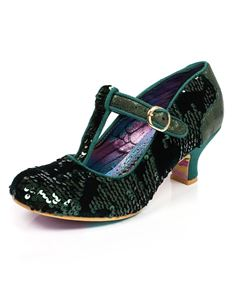 Irregular Choice Builds Bridges Green Sequin Mid Heel