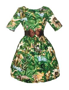 Silly Old Sea Dog 1950s Green Dinosaur Dress