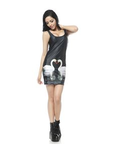 Poisoned Swan Digital Mini Dress Black