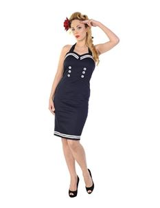 Banned 40s 50s Sailor Nautical Navy White Pencil Dress