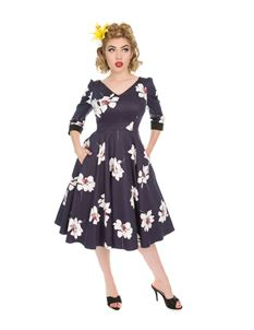Hearts & Roses 50s Midnight Purple Swing Dress