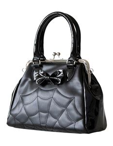 Banned Alternative Femme Fatale Spider Web Black Bag