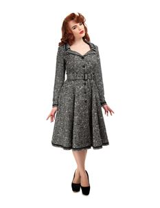 Collectif 40s WW11 Style Riley Charcoal Grey Wool Coat