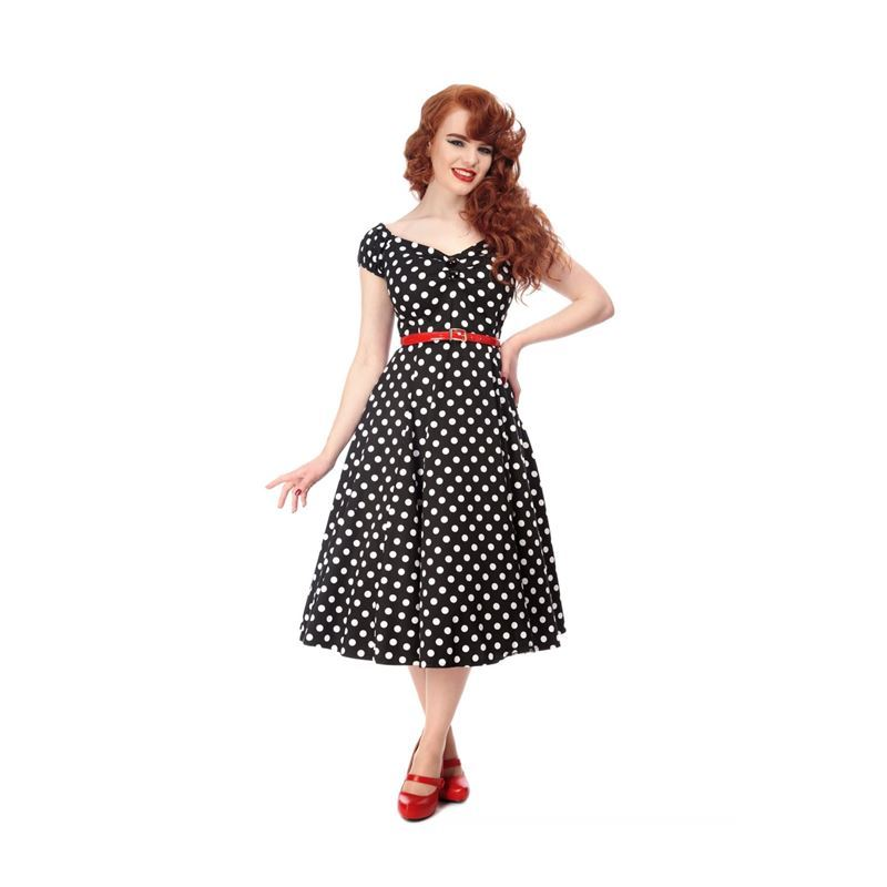 2b60836c5ee5c9 Collectif Dolores 50s Style Black and White Polka Dot Doll Dress