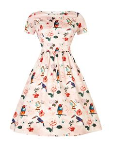 Lady Vintage 50s Style Eloise Macaw Bird Floral Day Dress